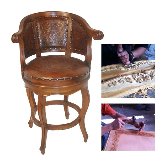New World Trading hand-carved bar stool