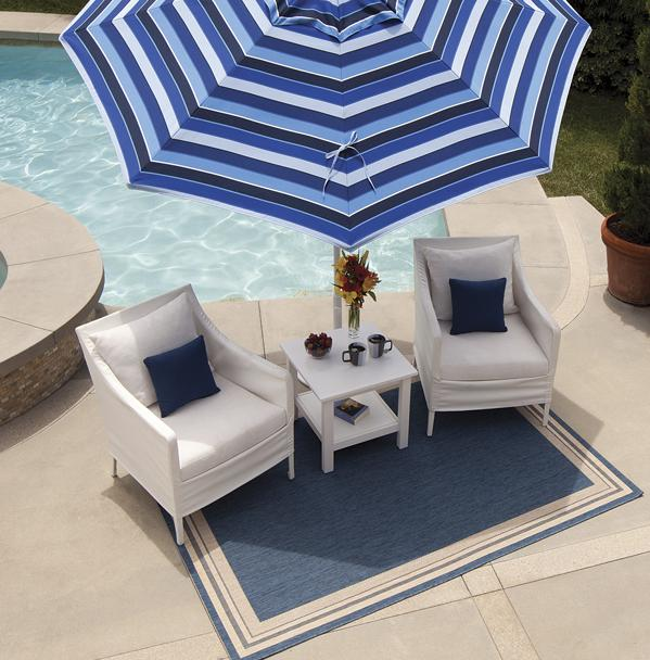 Treasure Garden blue outdoor rug