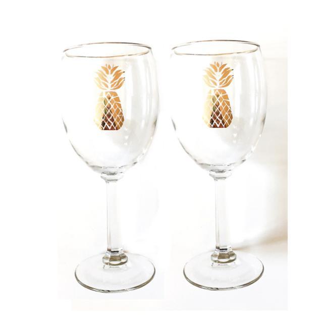 Blush Label Pineapple wine glasses